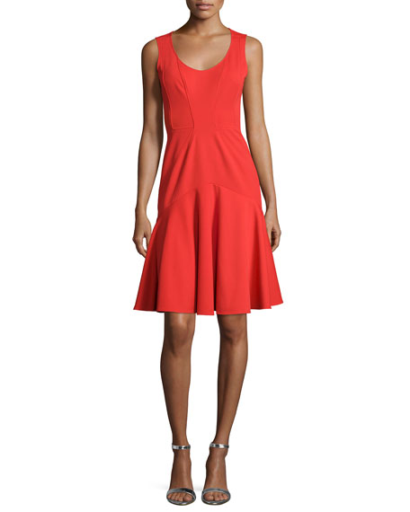 ZAC Zac Posen Karen Sleeveless Flounce-Skirt Dress, Poppy