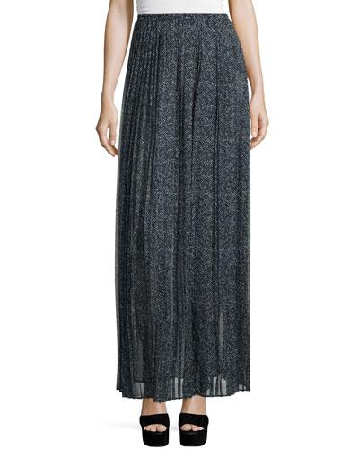 Pleated Maxi Skirt, Slate