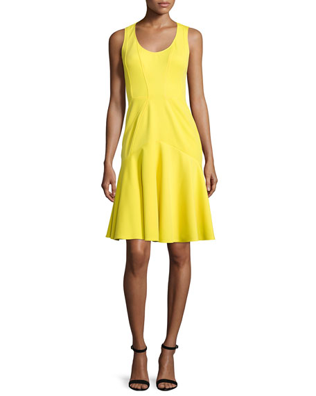 ZAC Zac Posen Karen Sleeveless Flounce-Skirt Dress, Daffodil