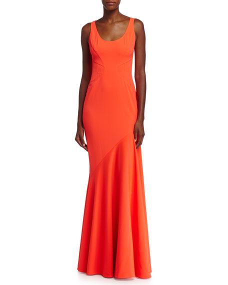 Blaire Asymmetric Gown, Coral