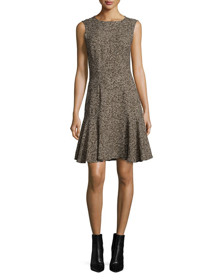Sable Fit-&-Flare Dress, Chocolate