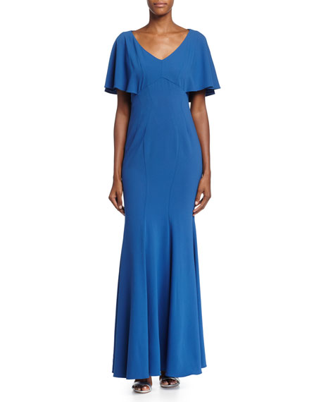 ZAC Zac Posen Sarabi Flutter-Sleeve Mermaid Gown