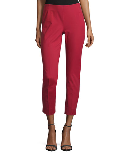 Stanton Straight-Leg Ankle Pants, Ruby Red