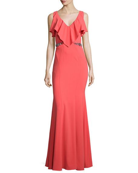Faviana Embellished-Waist Gown, Coral