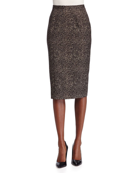 Michael Kors Collection Seamed Wool Pencil Skirt, Chocolate