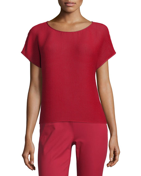 Lafayette 148 New York Nadette Playful Pleat Blouse, Ruby Red