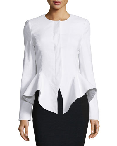Claudia Structured-Peplum Jacket, White