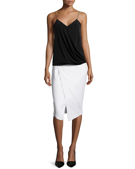 Marcy Faux-Wrap Pencil Skirt, White