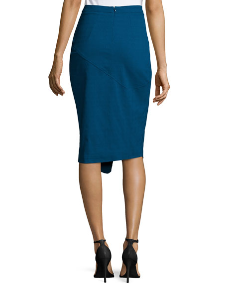 Marcy Faux-Wrap Pencil Skirt, Nightfall