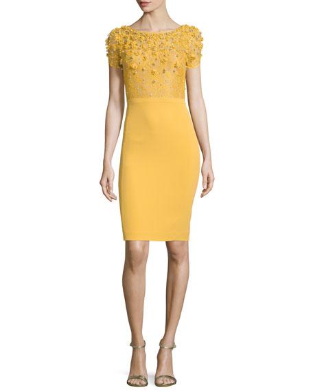 Jenny Packham Embellished-Bodice Cocktail Dress, Honeybee