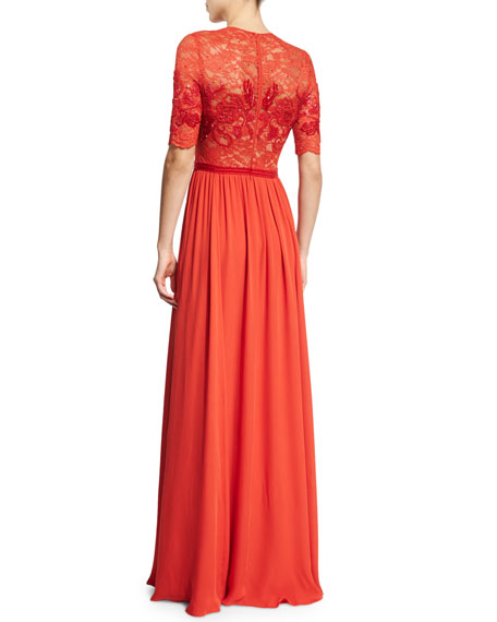 Elbow-Sleeve Embellished Gown, Pumpkin