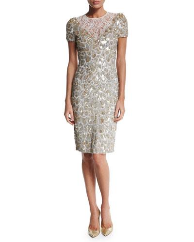 Short-Sleeve Sequined Cocktail Dress, Lunar