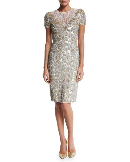 Jenny Packham Short-Sleeve Sequined Cocktail Dress, Lunar