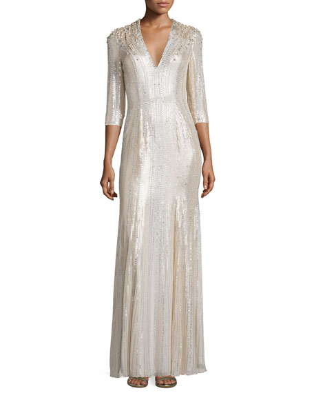 Jenny Packham Long-Sleeve V-Neck Sequin Gown, Lunar