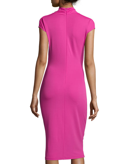Cowl Neck Sheath Dresses: Michael Kors Cowl-Neck Twist-Front Sheath Dress, Fuchsia