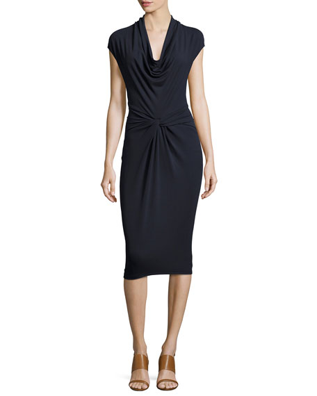 Michael Kors Collection Cap-Sleeve Cowl-Neck Sheath Dress, Navy