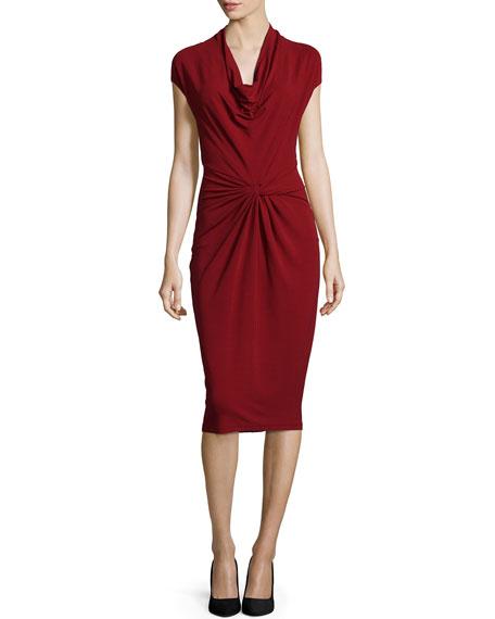 Michael Kors Collection Cap-Sleeve Cowl-Neck Sheath Dress, Cinnabar