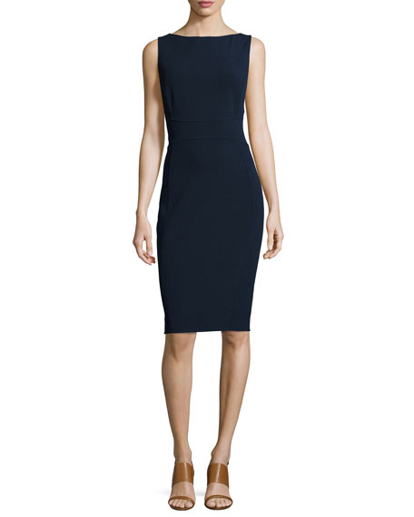 Sleeveless Bateau-Neck Sheath Dress, Midnight