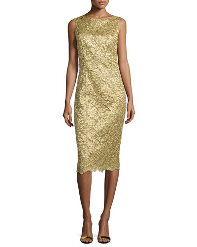 Michael Kors Collection Sleeveless Lace Sheath Dress, Gold