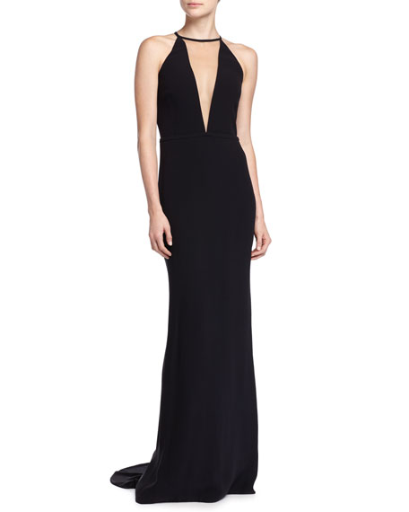 Michael Kors Halter Gown with Train, Black
