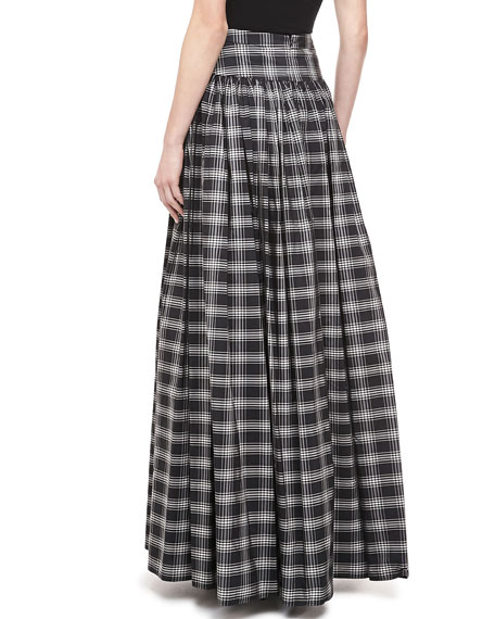Michael Kors Taos Plaid Taffeta Maxi Skirt