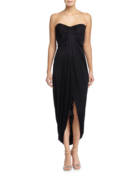 Michael Kors Collection Strapless Draped Jersey Gown, Black
