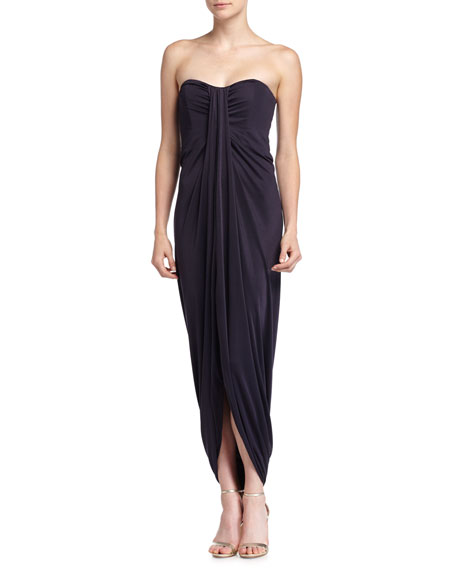 Michael Kors Collection Strapless Draped Jersey Gown, Navy