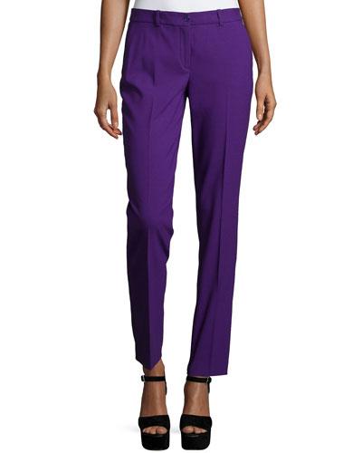Michael Kors Collection Flat-Front Slim-Leg Pants, Grape