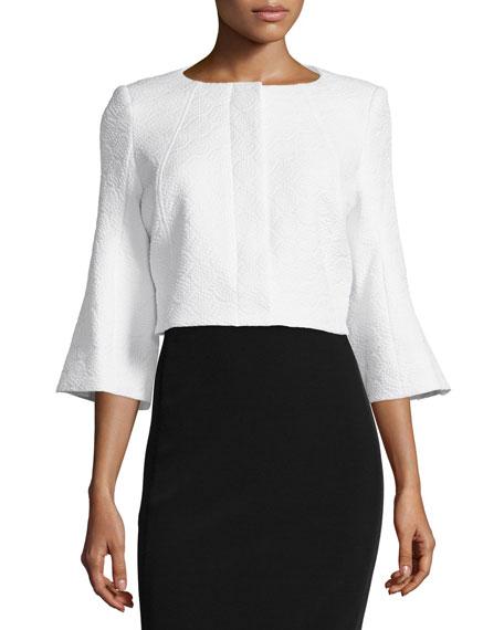 ZAC Zac Posen Susanna Bell-Sleeve Cropped Jacket, White