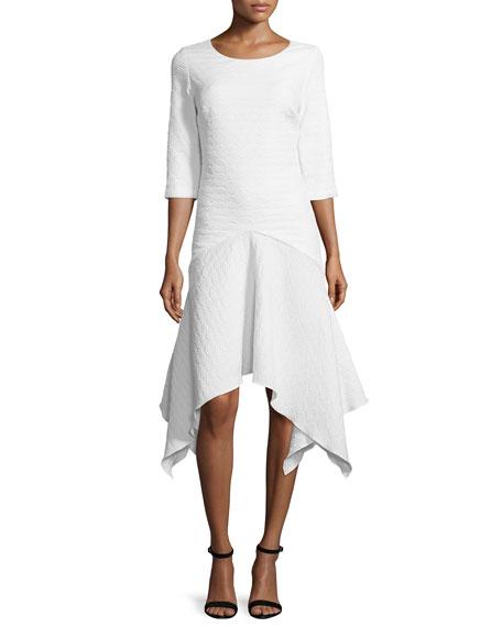 ZAC Zac Posen Susanna Handkerchief-Hem Dress, White