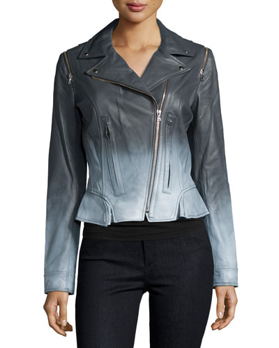 Edie Ombre-Leather Jacket, White/Summer Story