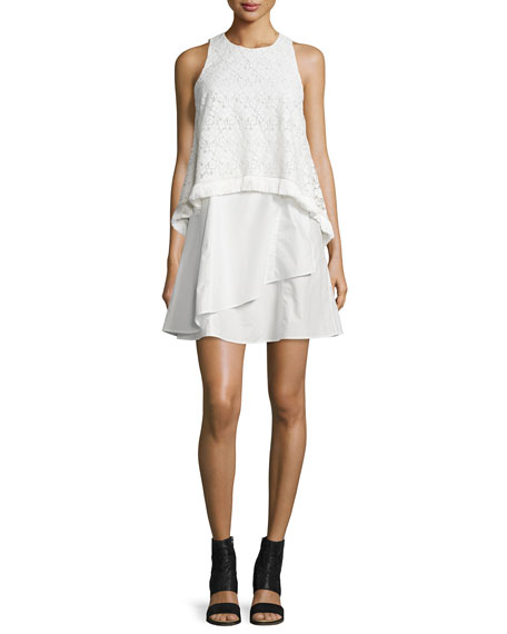 Derek Lam 10 Crosby Empire Lace Flounce Dress with Fringe, White