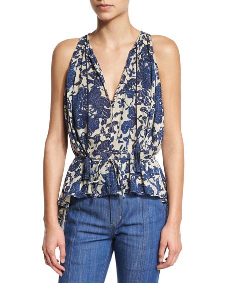 Derek Lam 10 Crosby Sleeveless Shirred Floral Blouse, Birch/Denim