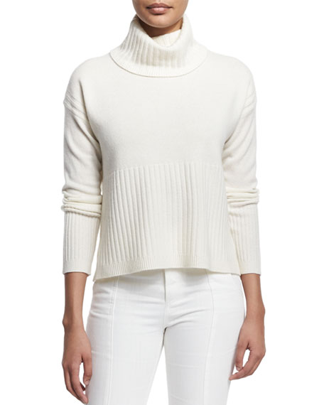 Derek Lam 10 Crosby Cashmere Ribbed-Trim Turtleneck Sweater, Soft White