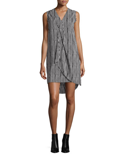 Sleeveless Striped Ruffle-Trim Shift Dress, Ivory/Midnight