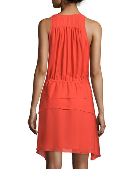 Sleeveless Tiered Silk Dress, Orange