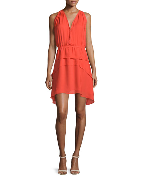 Derek Lam 10 Crosby Sleeveless Tiered Silk Dress,