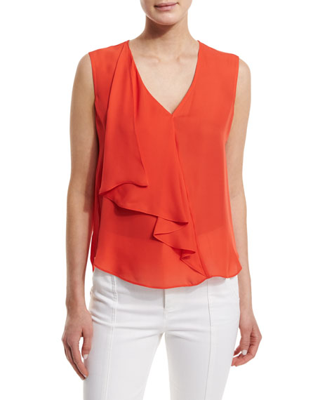 Derek Lam 10 Crosby Sleeveless Draped Silk Top, Blood Orange