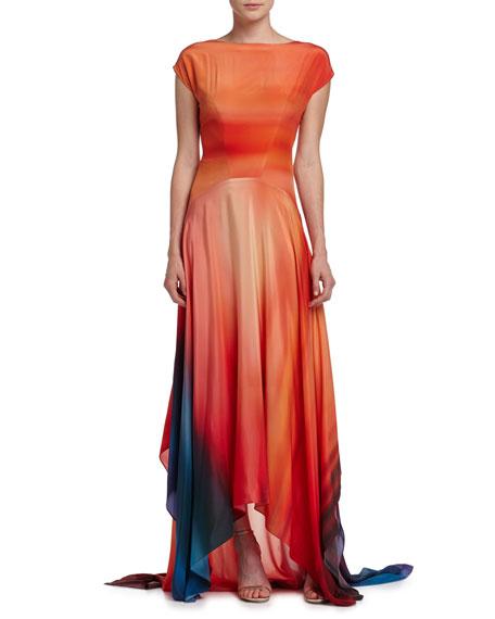 ZAC Zac Posen Miriam Short-Sleeve Ombre-Print Handkerchief Gown