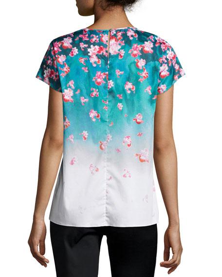 Juni Short-Sleeve Ombre Blouse, Fiji/Poppy/Multi