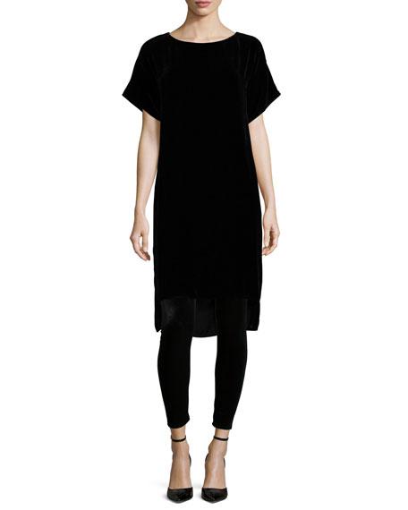 Short-Sleeve Washable Velvet Step Dress, Plus Size