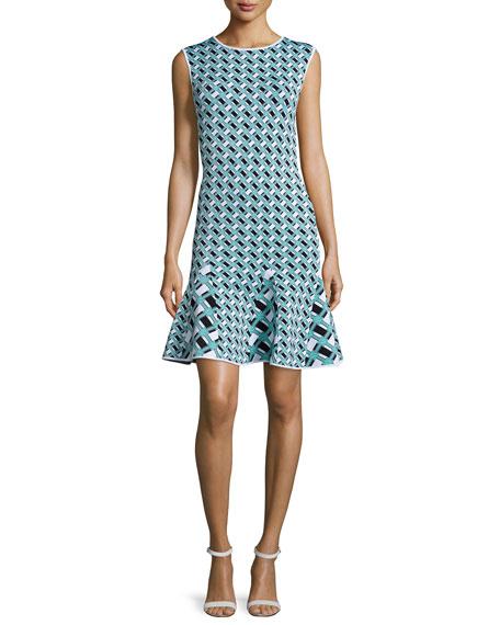 ZAC Zac Posen Ines Geometric-Print Flounce-Hem Dress,