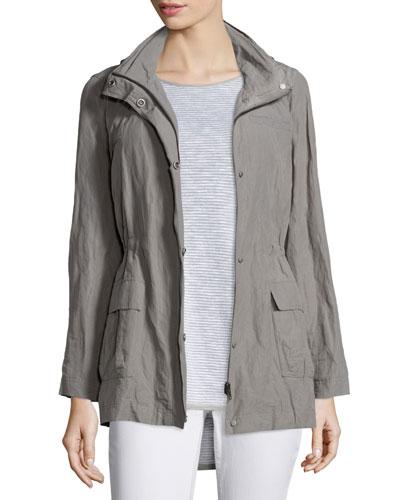 Hooded Rumpled Steel Drawstring Jacket
