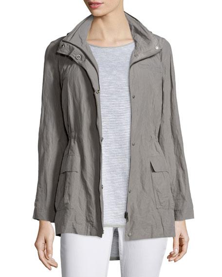 Eileen Fisher Hooded Rumpled Steel Drawstring Jacket