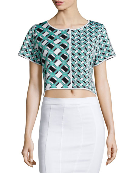 ZAC Zac Posen Ines Geometric-Print Crop Top, Lagoon/Black/White