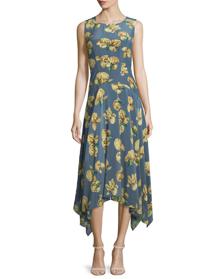 ZAC Zac Posen May Floral-Print Midi Dress, Daffodil/Summer