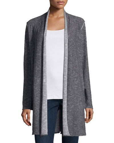 Plaited Organic Linen & Cotton Long Cardigan, Petite