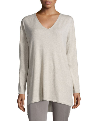 V-Neck Organic Cotton Tunic with Pockets, Petite