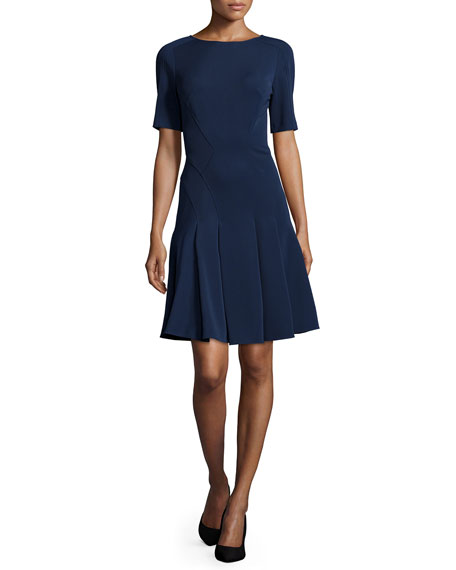 ZAC Zac Posen Paige Short-Sleeve Fit-&-Flare Dress, Navy