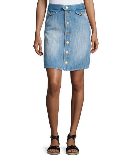 Isabel Marant Etoile Odelle High-Waist Denim Skirt, Blue